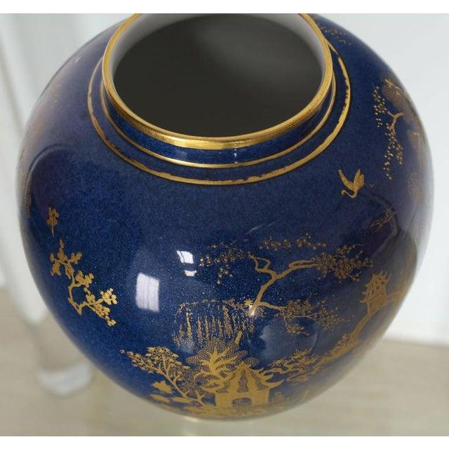 Asian Carlston Ware Globe Shape Cobalt Blue & Gold Vase For Sale - Image 3 of 5