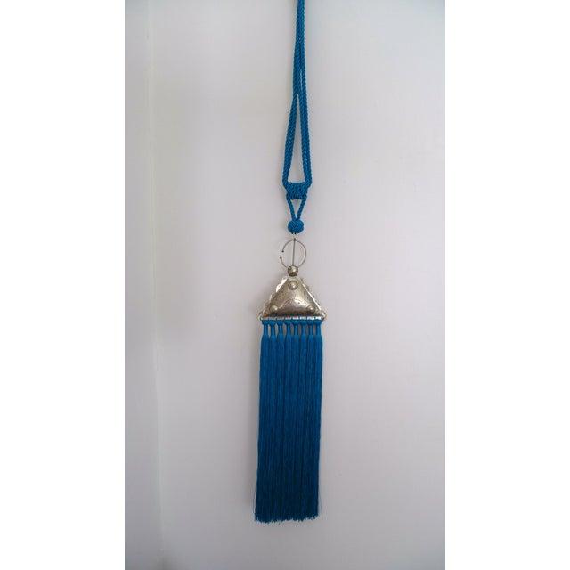 Moroccan Blue Silk & Brass Tassel Ornament - Image 2 of 8