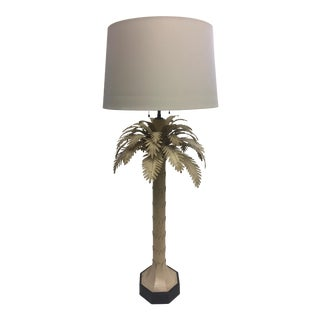 Painted Tole Palm Tree Lamp For Sale