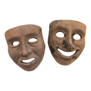 Early 20th Century Earthenware Comedy & Tragedy Masks For Sale