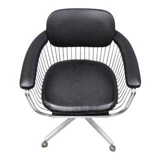 Mid Century Modern Takara Belmont Chrome & Vinyl Warren Platner Style Desk Chair For Sale