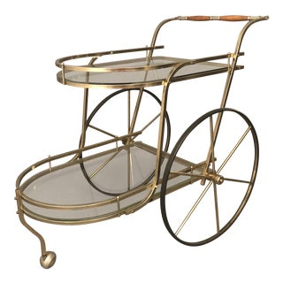 1980s Mid-Century Modern 2-Tier Glass & Brass Bar Cart For Sale