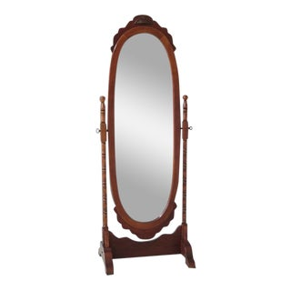 Victorian Cherry Finished Cheval Dressing Mirror For Sale