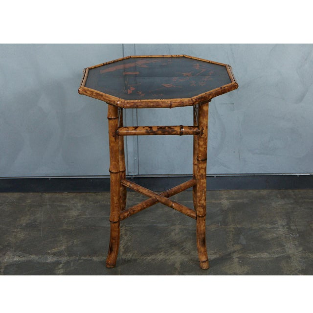Late 19th Century Octagonal Victorian Bamboo and Lacquer Side Table For Sale - Image 5 of 7