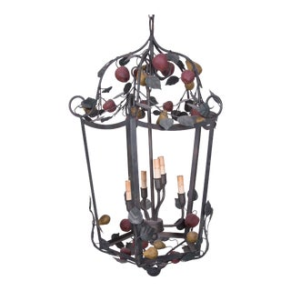 Italian Polychrome Lantern Garnished with Fruits and Vines For Sale