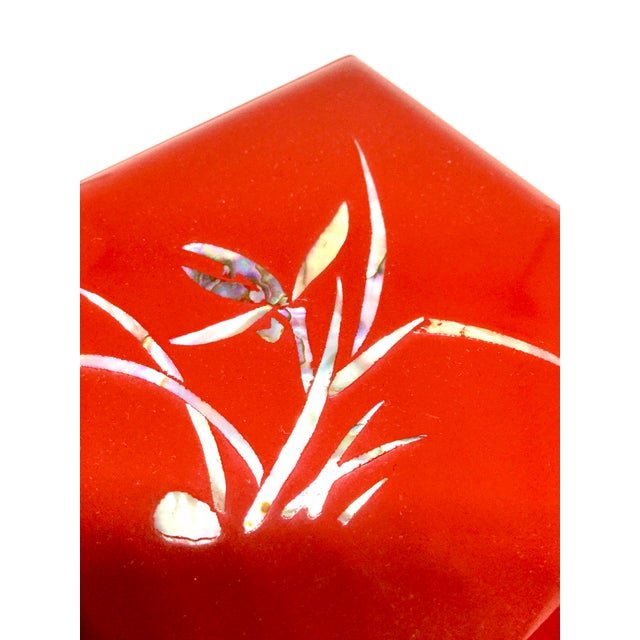 Vintage Red Japanese Lacquered & Mother of Pearl Box For Sale In Portland, ME - Image 6 of 13