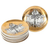 Image of 1960s Fornasetti Porcelain Coasters With Chariots - Set of 8 For Sale