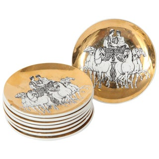 1960s Porcelain Coasters With Chariots by Fornasetti - Set of 8 For Sale