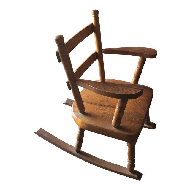 1970s Vintage Children's Wooden Rocking Chair For Sale