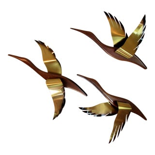 1960s Mid-Century Wood and Brass Metal Wall Hanging Ducks - Set of 3