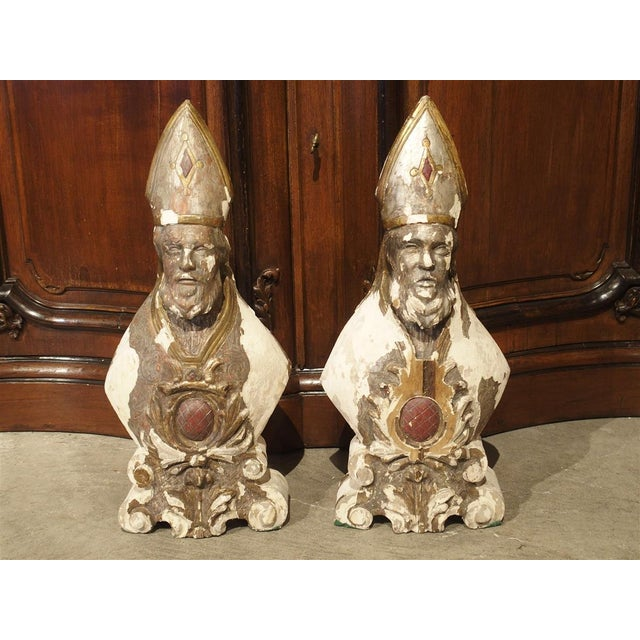 Carved and Parcel Silvered 17th Century Bishops, Lazio Italy - a Pair For Sale - Image 13 of 13