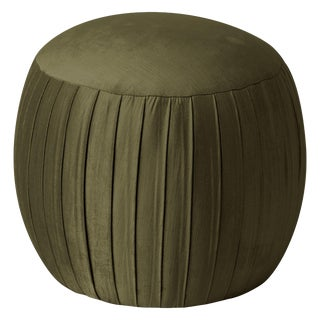 Round Shirred Ottoman in Majestic Pine For Sale