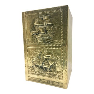 1950's Vintage Brass Nautical Box For Sale