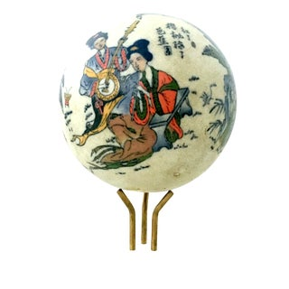 Early 20th Century Mid-20th Century Japanese Satsuma Ceramic Geisha Sphere Sculpture & Stand - a Pair For Sale
