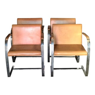 "Mies Van Der Rohe for Knoll Studio ""Brno Flat Bar"" Lounge Leather Armchairs - Set of 4 For Sale"