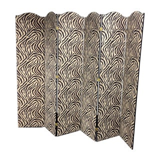 Six Panel Zebra Print Wall Divider