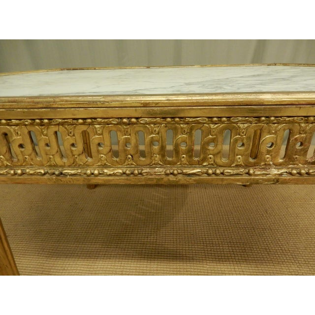French 18th C. Louis XVI Marble Top Coffee Table For Sale - Image 3 of 8