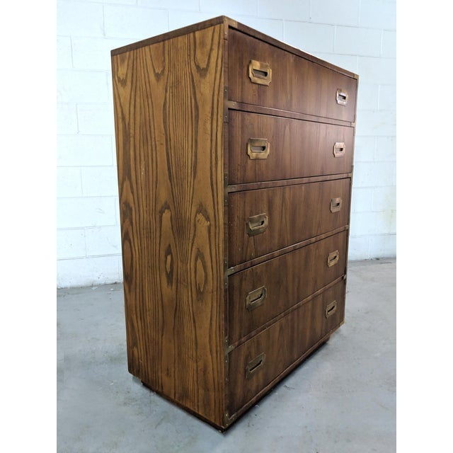 Boho Chic 1970s Campaign Dixie Furniture Tall Dresser For Sale - Image 3 of 12