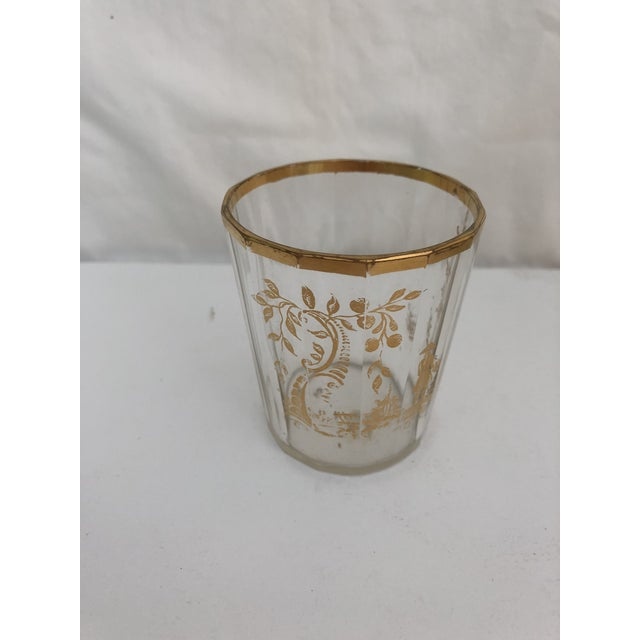 1910s Art Nouveau Gilt Decorated Small Carafe & Glass - 2 Pieces For Sale In New York - Image 6 of 7