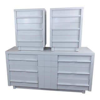 American of Martinsville Refinished White Gloss Paint Dresser, Nightstands Bedroom Set - 3 Pc.