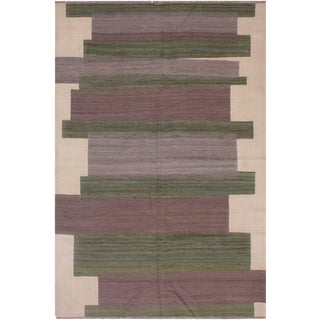 "Modern Bauhaus Hand-Woven Kilim Wool Rug - 5'9"" X 7'10"" For Sale"