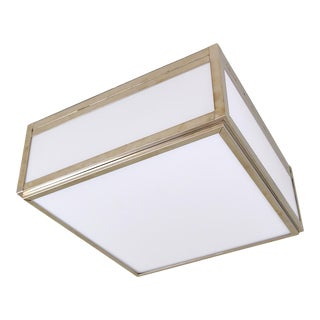 Phoenix Day Square Ceiling Box Light in Polished Nickel With White Glass For Sale