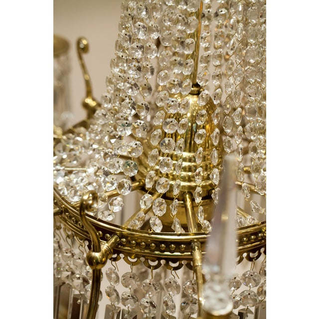 Metal Brass and Crystal Gasolier For Sale - Image 7 of 13
