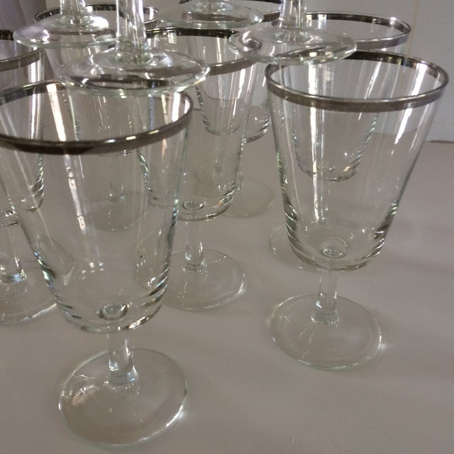 Metal French Platinum Rim Crystal Cocktail /Water Glasses - Set of 12 For Sale - Image 7 of 11