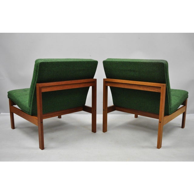 Green 1960s Vintage Gjerlov Knudsen Torben Lind France & Son Green Teak Moduline Slipper Chairs- A Pair For Sale - Image 8 of 11