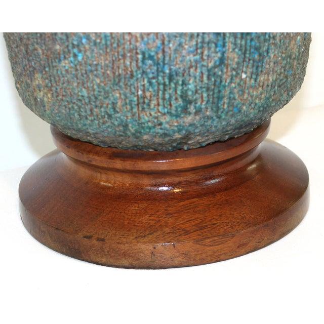 Mid-Century Blue Green Lava Glaze Lamp - Image 4 of 6