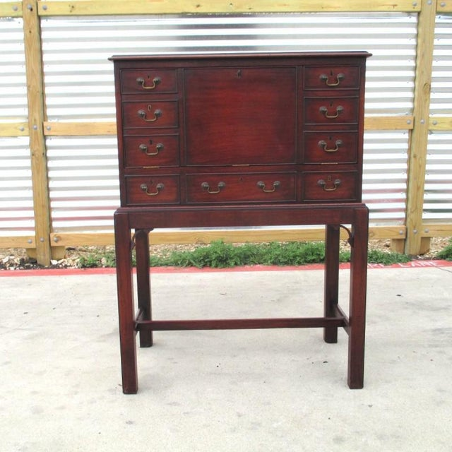 Brown English Antique Drop Front Writing Desk For Sale - Image 8 of 8