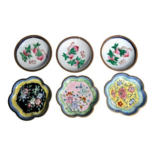 1940s Vintage Chinese Enamel & Brass Plates-Set of 6 For Sale