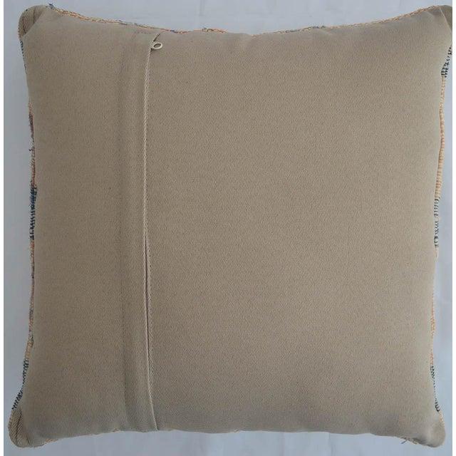 "1960s Hand-Woven Kilim Rug Throw Pillow Turkish Sham Diagonal Cut - 16"" X 16"" For Sale - Image 5 of 6"