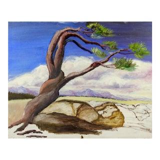 1970s Surrealist Landscape Windswept Tree Painting