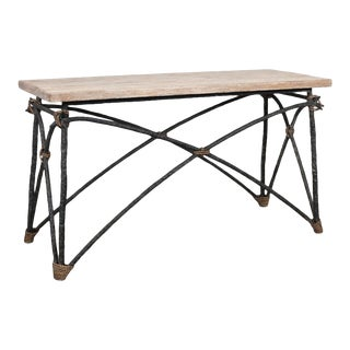 Las Palmas Collection Modern Rustic Wrought Iron Console Sofa Table For Sale