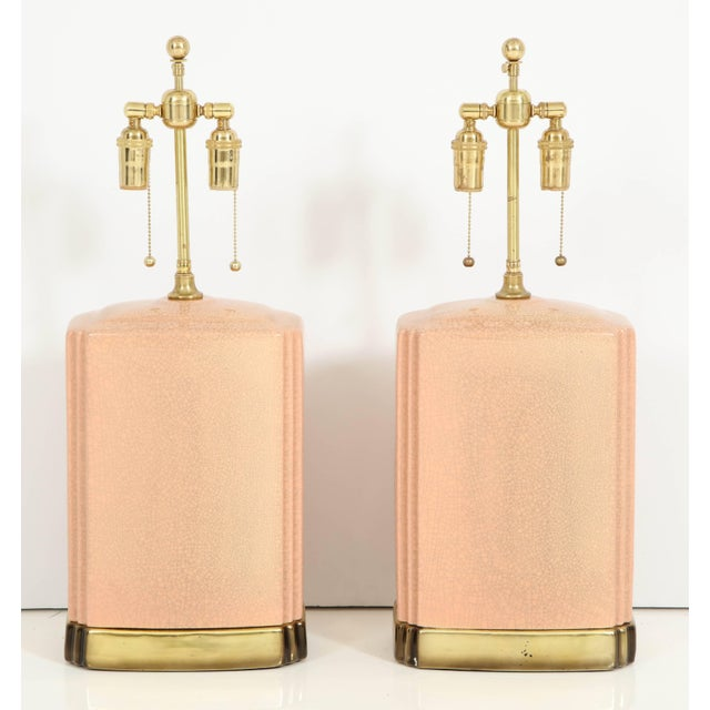 Pink and Brass Crackle Glazed Ceramic Lamps - a Pair For Sale - Image 4 of 12