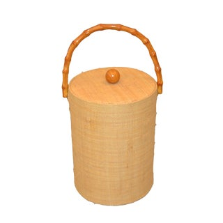 Mid-Century Modern Hand-Woven Cane & Bamboo Insulated Ice Bucket With Lid For Sale