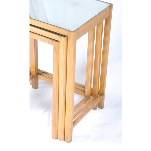 Glass Mirrored Vintage Nesting Tables, 1930 - Set of 3 For Sale - Image 7 of 8
