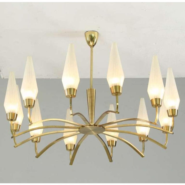Large Twelve-Arm Brass with Opaline Glass Chandelier, Italy, 1950s - Image 1 of 7