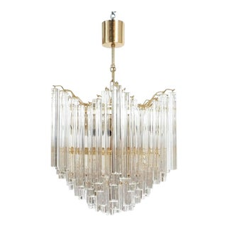 Four-Tier Chandelier with Murano Glass Triedri Prisms For Sale
