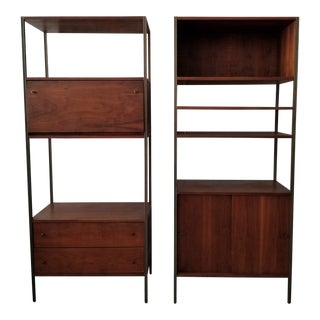 George Nelson Herman Miller Style Walnut Bookcase Etageres - a Pair