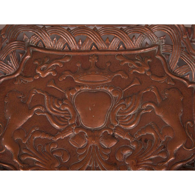 Late 19th Century Antique French Copper Tray with Heraldic Lions circa 1890 For Sale - Image 5 of 8