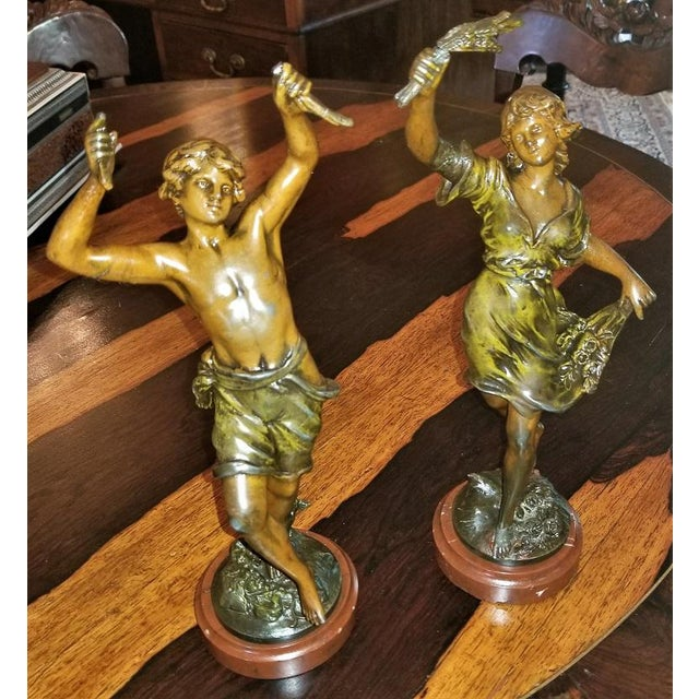 19th C. Bronzed Spelter Sculptures After Auguste Moreau - a Pair For Sale - Image 13 of 13