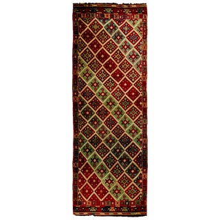 Antique Geometric Red and Blue Wool Kilim Rug - 3′5″ × 10′5″ For Sale
