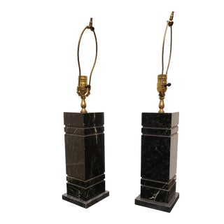 Pair of Minimal Rectangular Black Marble Table Lamps For Sale