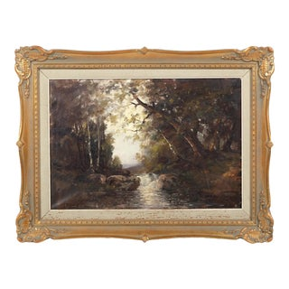 Babbling Brook Forest Landscape by Olof Dynet For Sale
