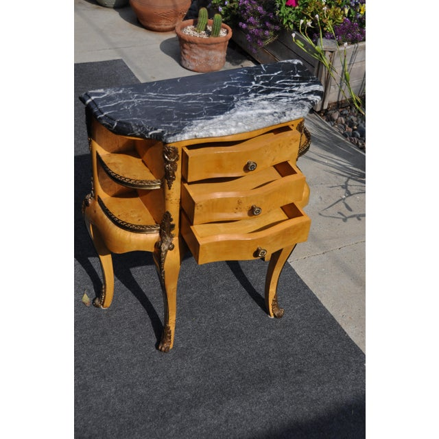 Gold Vintage Louis XV Mounted Marble Top & Bronze Detail Side Table For Sale - Image 8 of 11