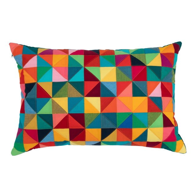 Modern Rectangular Colorful Quilted Pillow For Sale