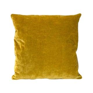 Kim Salmela Gold Silk Velvet Square Throw Pillow For Sale