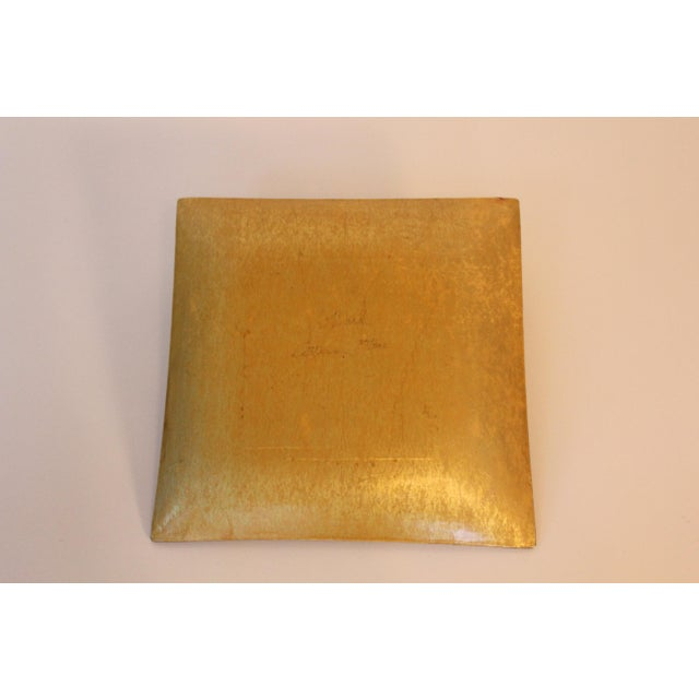 Contemporary Susan Ward Gold Square Decoupage Glass Dish For Sale - Image 3 of 5